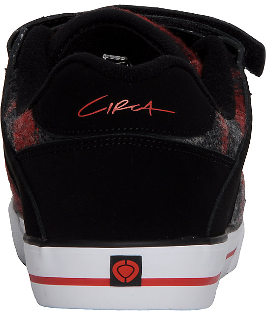 Circa 205 Vulc Black & Red Plaid Shoes