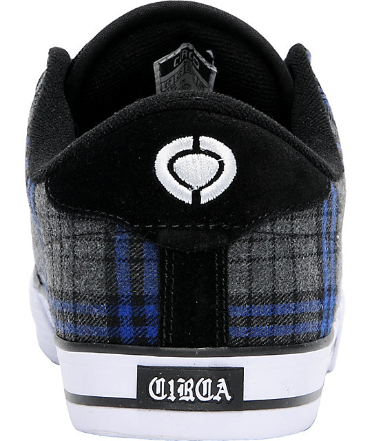 Circa AL 50 Black & Royal Plaid Skate Shoes