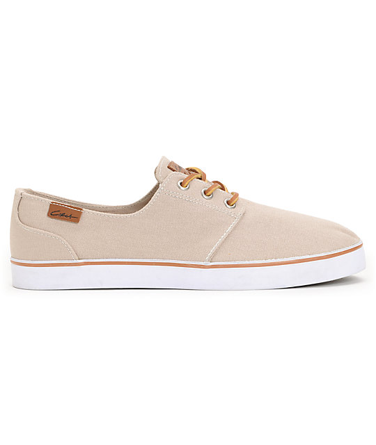 Circa Crip Light Brown & White Canvas Skate Shoes