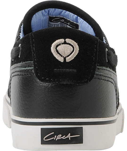 Circa Valeo Black Leather & Suede Skate Shoes