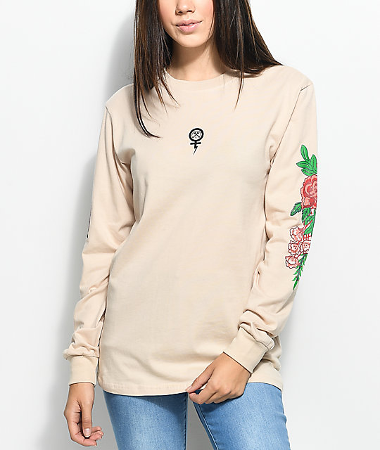 Floral Tan Long Sleeve T-Shirt