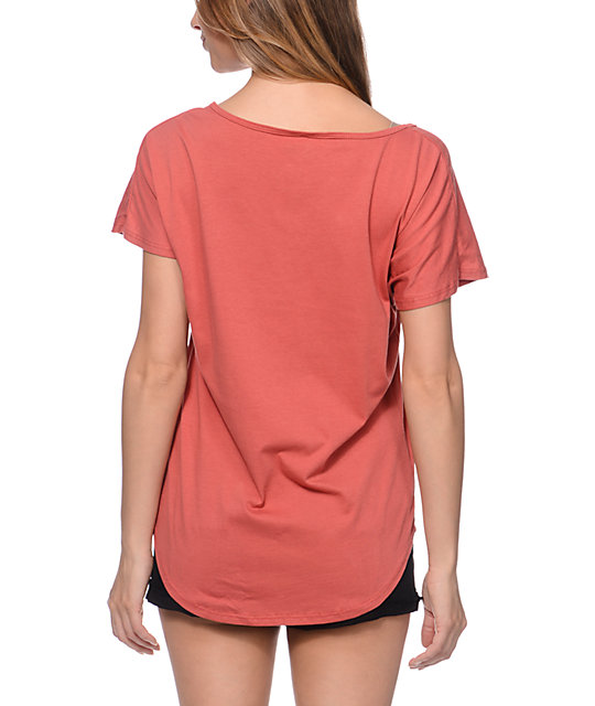 Civil Free Dreamers Red Scoop Neck T-Shirt