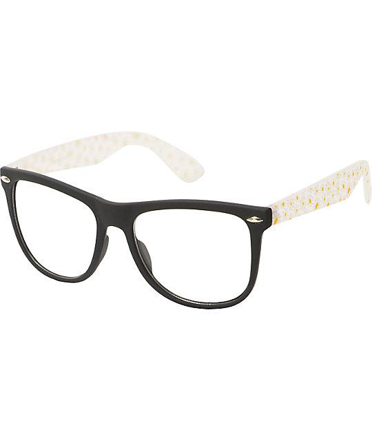 Classic Daisy Black & White Clear Sunglasses
