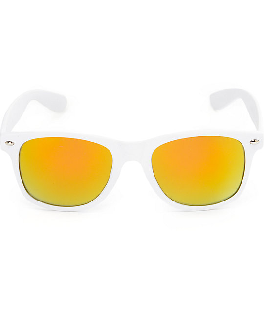Classic Rubberized White & Red Revo Sunglasses