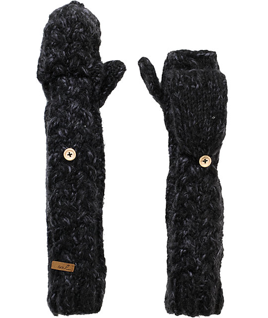 Coal Addie Black Knit Arm Warmer Mittens