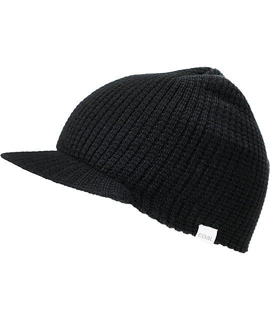 Coal Black Staple Visor Beanie