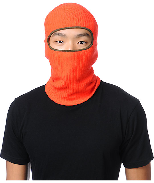 Coal Clava Neon Orange Knit Face Mask Beanie