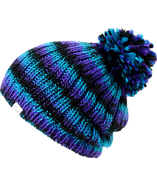 Coal Emily Black Space Dye Knit Pom Beanie