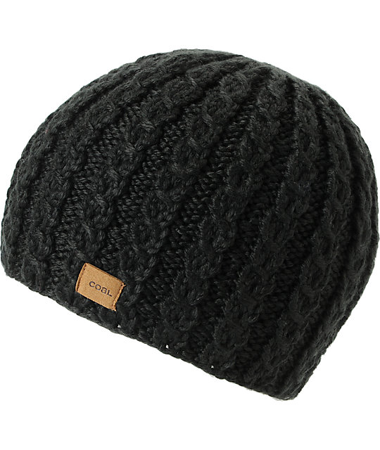 Coal Mini Black Cable Knit Beanie