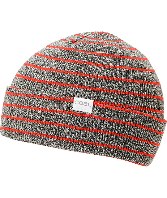 Coal Nicks Grey & Red Stripe Cuff Beanie