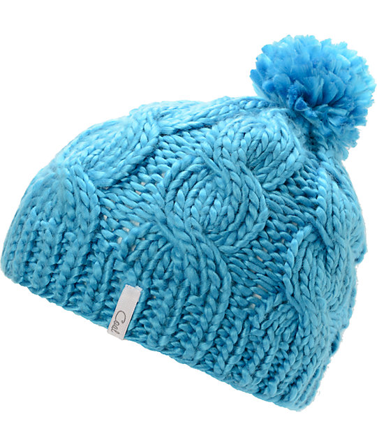 Coal Rosa Bright Blue Pom Beanie