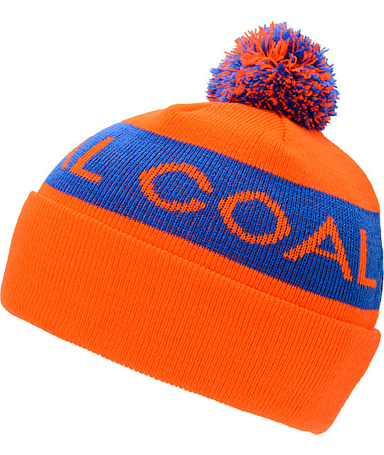 Coal Team Orange & Blue Pom Beanie