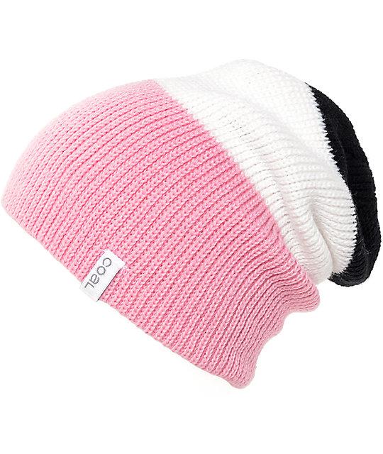 Coal The Frena Black, White & Pink Beanie