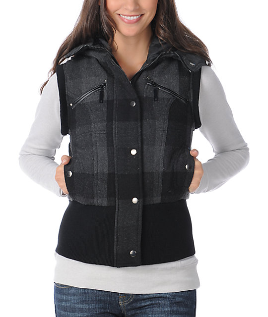 Coffee Shop Florence Charcoal Plaid Hooded Vest