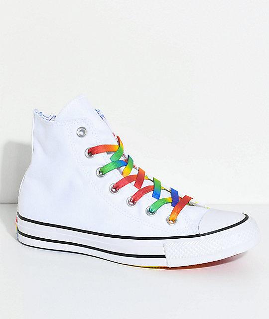 Balance Board Zumiez: Converse CTAS Hi Pride Pack Multi-Colored & White Shoes