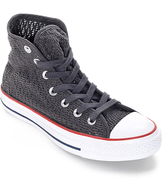 Converse Chuck Taylor All Star Hi Almost Black Crochet Shoes