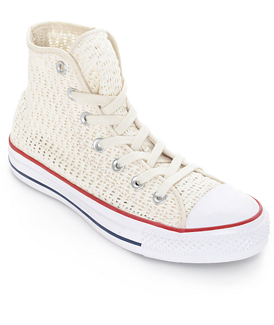 Converse Chuck Taylor All Star Hi Parchment Crochet Shoes