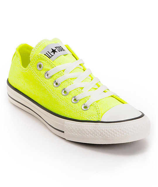 Converse chuck taylor all star washed neon yellow shoes at zumiez