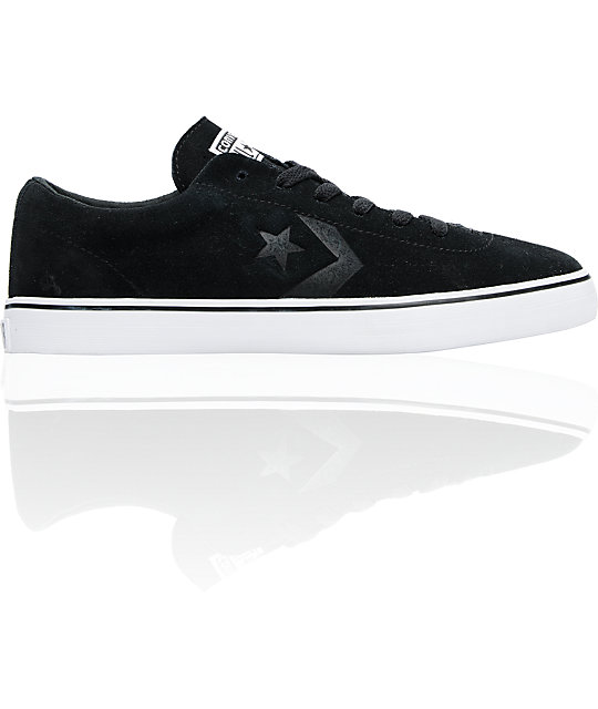 Converse Elm LS Black & White Suede Skate Shoes