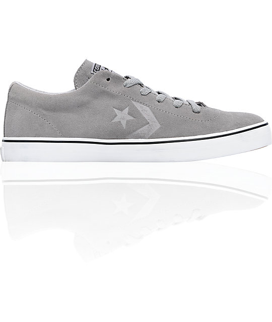 Converse Elm LS Phaeton Grey & White Suede Skate Shoes