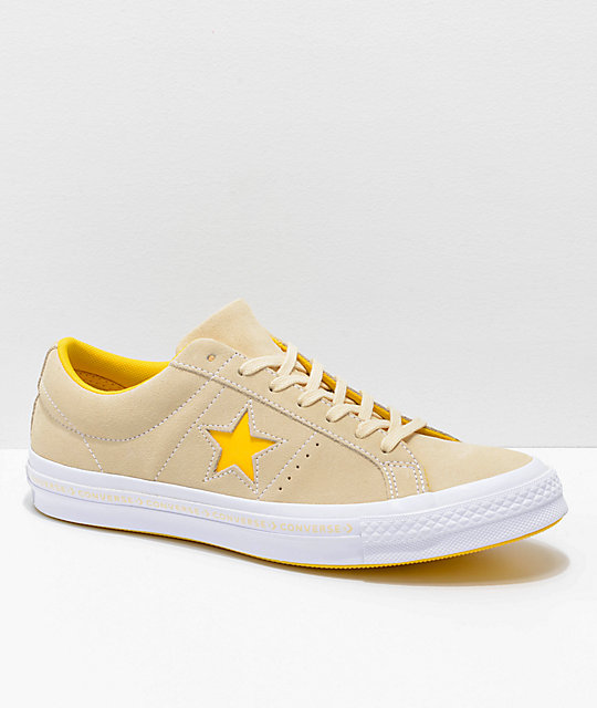 Converse One Star Pinstripe Vanilla, Solar Power & White Skate Shoes