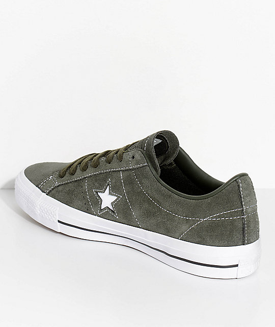 Converse One Star Sequoia Green & White Skate Shoes