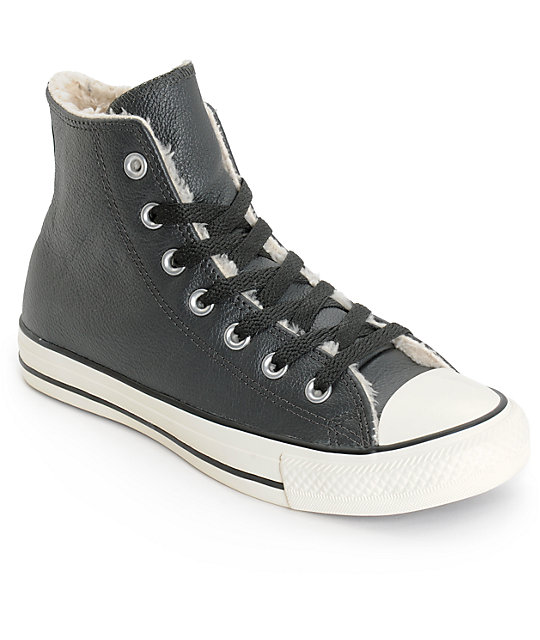 converse gray womens n8k9  Converse Womens Chuck Taylor All Star Black Leather Shoes