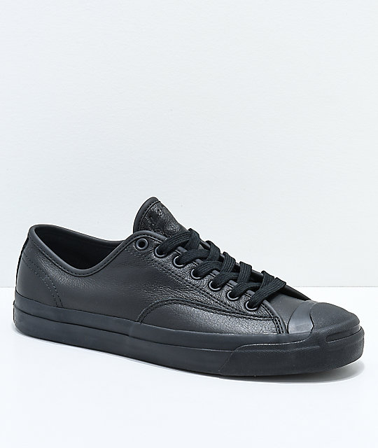 Converse x GX1000 Jack Purcell Pro All Black Leather Skate Shoes