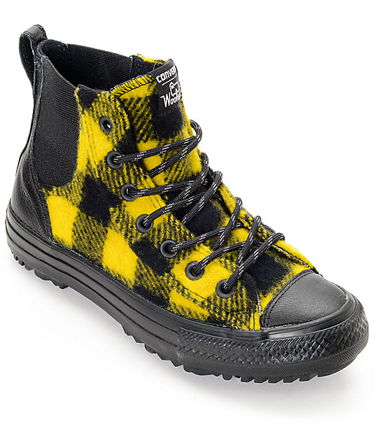 Converse x Woolrich Chelsee CTAS Hi Black & Yellow Buffalo Plaid Shoes (Womens)