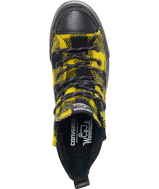 Converse x Woolrich Chelsee CTAS Hi Black & Yellow Buffalo Plaid Shoes