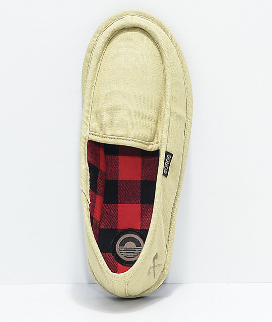 Cords Draper Khaki & Plaid Slippers