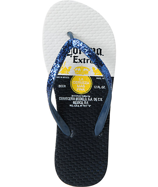 Corona Label White Flip Flop Sandals