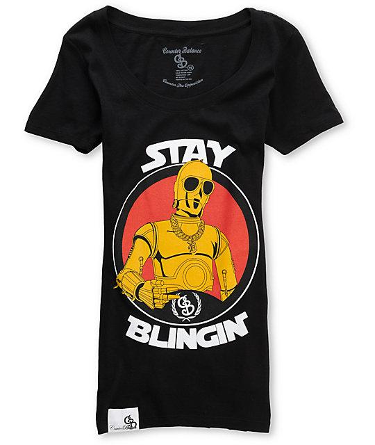 Counter Balance Stay Blingin Black T-Shirt