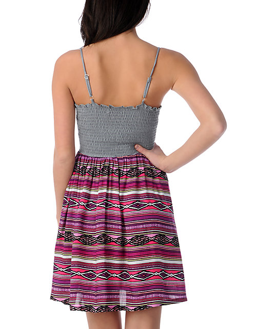 Crafty Pink Tribal Zipper Dress
