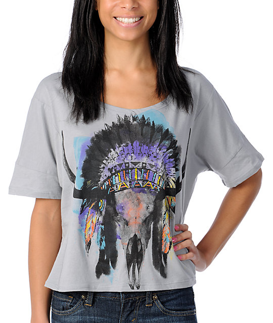 Crafty Skull Head Dress Grey Crop Top T-Shirt