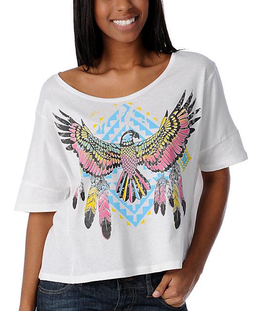 Crafty Thunderbird White Crop Top T-Shirt