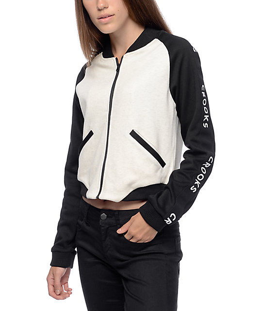 Crooks & Castles Academy Oatmeal & Black Cropped Bomber Jacket