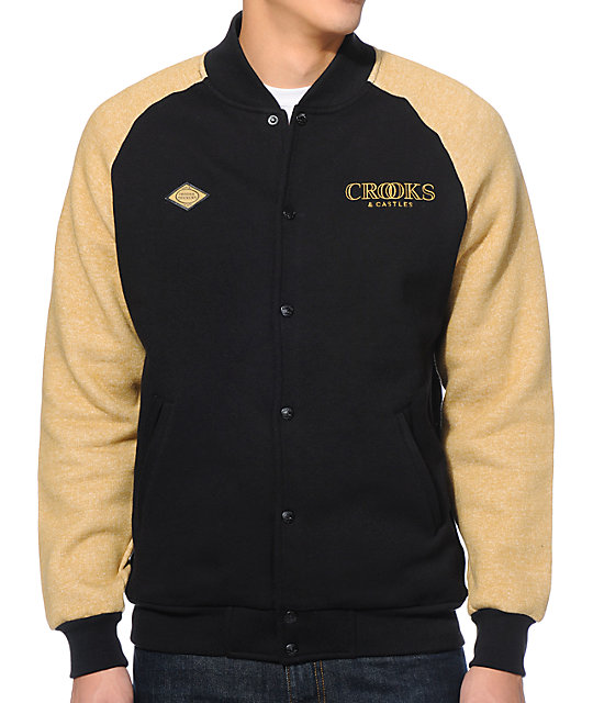 Crooks & Castles Ballin Mane Black & Gold Fleece Varsity Jacket