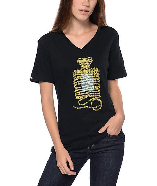 Crooks & Castles Cadeia Black V-Neck T-Shirt