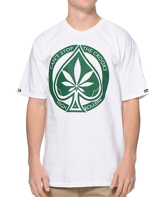 Crooks & Castles Spade Roller White & Green T-Shirt