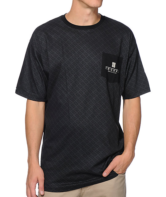 Crooks & Castles Thuxury Repeat Black Pocket T-Shirt