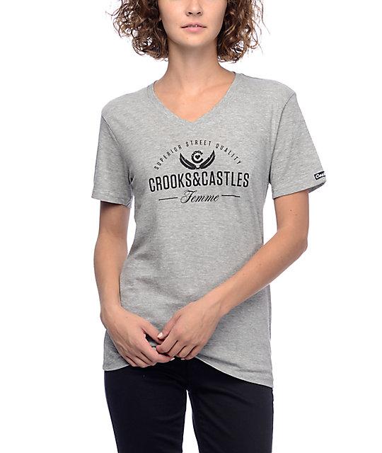 Crooks & Castles Superior Heather Grey V-Neck T-Shirt