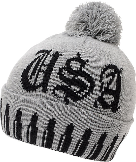Crooks And Castles Surveillance Grey Pom Beanie