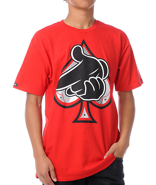 Crooks and Castles Air Gun Spades Red T-Shirt