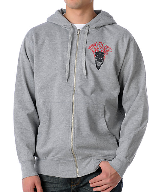 Crooks and Castles Bandito Grey Zip Up Hoodie