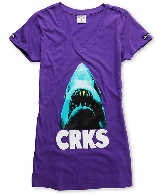 Crooks and Castles Big Bite Purple V-Neck T-Shirt