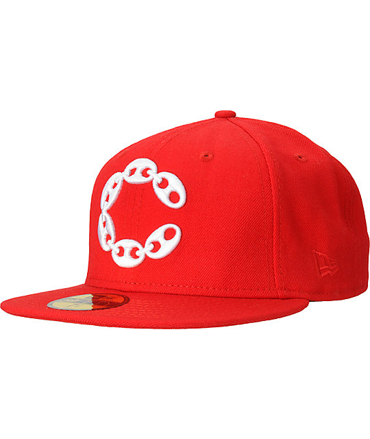 Crooks and Castles Big C Link Red New Era Fitted Hat