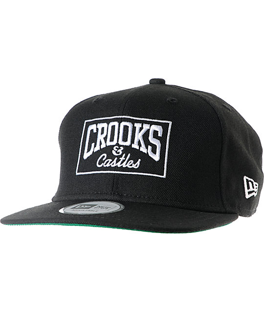 Crooks and Castles Box Logo Black New Era Snapback Hat