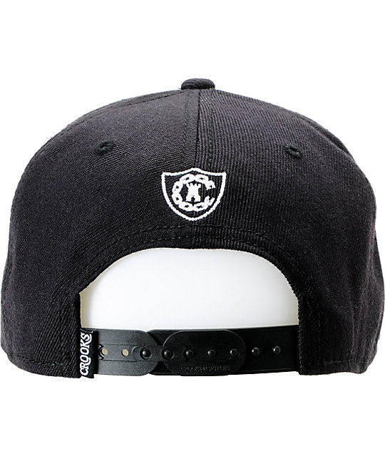 Crooks and Castles Box Script Black Snapback Hat
