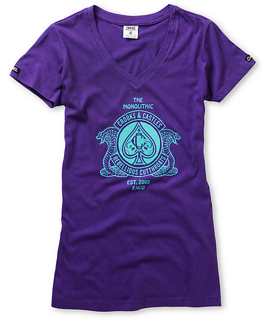 Crooks and Castles Cobra Crest Purple V-Neck T-Shirt